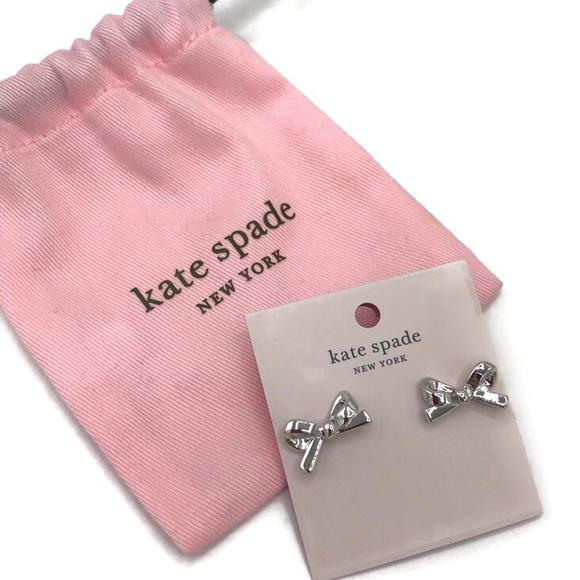 Kate Spade Skinny Mini Silver Bow Earrings NWT